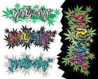 Texto del diseño de la pintada de la calle de las hojas de la mala hierba de la marijuana Fotos de archivo