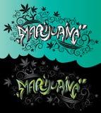 Texto del diseño de la pintada de la calle de las hojas de la mala hierba de la marijuana Imágenes de archivo libres de regalías