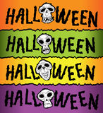 Texto del diseño del horror de Halloween con el cráneo stock de ilustración
