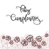 Texto del español de Feliz Cumpleanos Happy Birthday Fotografía de archivo libre de regalías