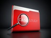 Texto del estudio de caso debajo de la lupa ilustración 3D stock de ilustración