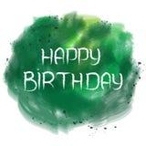 Texto del feliz cumpleaños en bandera verde de la acuarela Foto de archivo