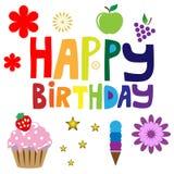 Texto del feliz cumpleaños Fotos de archivo libres de regalías