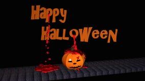 Texto del feliz Halloween con la linterna de la calabaza foto de archivo