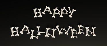 Texto del feliz Halloween impreso con los huesos Fotos de archivo libres de regalías