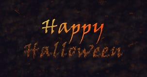 Texto del feliz Halloween que disuelve en el polvo para basar Fotografía de archivo