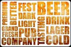 Texto del fondo de la cerveza Fotografía de archivo libre de regalías