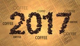 Texto 2017 del grano de café en el papel viejo Foto de archivo
