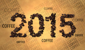 Texto 2015 del grano de café en el papel viejo Imagen de archivo