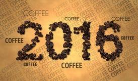 Texto 2016 del grano de café en el papel viejo Imagenes de archivo