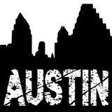 Texto del grunge de Austin con horizonte stock de ilustración