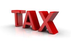 Texto del impuesto en rojo Imágenes de archivo libres de regalías