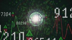 Texto del mercado de acción en gráfico del mercado de acción con la exhibición del precio de la carta de barra, pantalla del come ilustración del vector