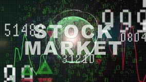 Texto del mercado de acci?n en gr?fico del mercado de acci?n con la exhibici?n del precio de la carta de barra, pantalla del come libre illustration