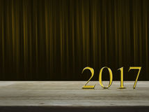 Texto 2017 del metal del oro de la Feliz Año Nuevo Fotos de archivo