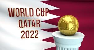 Texto del mundial y balón de fútbol de oro delante de la bandera de Qatar stock de ilustración