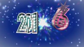 Texto 2016 del oro de la Feliz Año Nuevo almacen de video