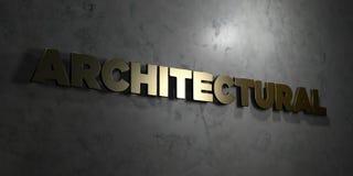 - Texto del oro en fondo negro - 3D arquitectónico rindió la imagen común libre de los derechos stock de ilustración