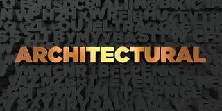 - Texto del oro en fondo negro - 3D arquitectónico rindió la imagen común libre de los derechos ilustración del vector