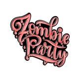 Texto del partido del zombi para la invitación del partido, tarjeta de felicitación, bandera Imágenes de archivo libres de regalías