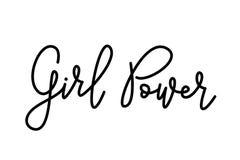 Texto del poder de la muchacha Escritura de la caligrafía de Monoline Diseño lindo para la camisa de la mujer de la impresión Lem Foto de archivo