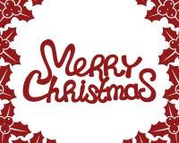 Texto del rojo de la Feliz Navidad stock de ilustración