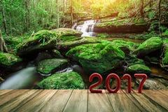 Texto del rojo 2017 en la madera vieja en caída verde del agua de la naturaleza Fotografía de archivo