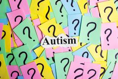 Texto del síndrome del autismo en notas pegajosas coloridas contra la perspectiva de signos de interrogación Fotos de archivo libres de regalías