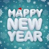 Texto del saludo de la Feliz Año Nuevo, nieve 3d Imagenes de archivo