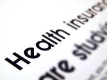 Texto del seguro médico imagen de archivo libre de regalías