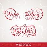 Texto del vino rojo stock de ilustración