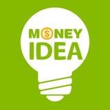 Texto dentro de la idea del dinero del bulbo Fotografía de archivo libre de regalías