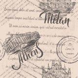 Texto descolorado, Milan Cathedral dibujado mano, poniendo letras a Milán, acrópolis dibujada mano de Atenas, poniendo letras a A Stock de ilustración