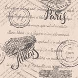 Texto descolorado, sellos, acrópolis dibujada mano de Atenas, letras, mano dibujada el Louvre, letras París, modelo inconsútil Ilustración del Vector