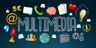 Texto digital desenhado à mão da tecnologia de multimédios com ícones Fotografia de Stock Royalty Free