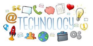 Texto digital desenhado à mão da tecnologia de multimédios com ícones Imagens de Stock Royalty Free