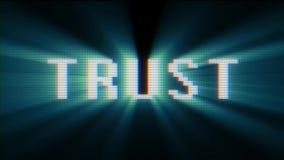 Texto digital retro de la palabra de la confianza de la fuente en lazo inconsútil de la vieja de la TV lcd de la interferencia de ilustración del vector