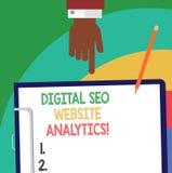 Texto Digital Seo Website Analytics de la escritura Análisis en línea de Hu de la estrategia de la optimización del Search Engine stock de ilustración