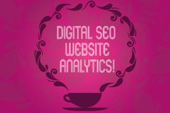 Texto Digital Seo Website Analytics de la escritura Taza en línea de la estrategia de la optimización del Search Engine del signi libre illustration