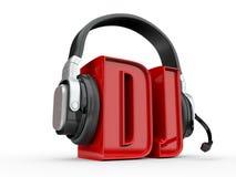 Texto DJ e handphones. 3d Imagens de Stock