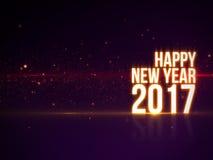 Texto do ano novo feliz 2017 com luz e partículas coloridas bonitas com reflexão Imagem de Stock Royalty Free