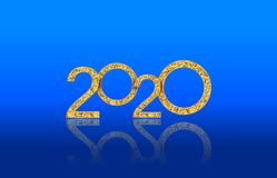 Texto 2020 do ano novo feliz com números dourados luxuosos isolado no fundo lustroso azul ilustração royalty free