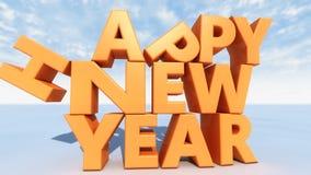 Texto do ano novo feliz 3d Imagens de Stock Royalty Free