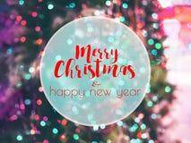 Texto do ano novo feliz da American National Standard do Feliz Natal no fundo do bokeh Fotos de Stock Royalty Free