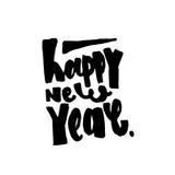 Texto do ano novo feliz Rotulação moderna da caligrafia e da escova Fotografia de Stock Royalty Free