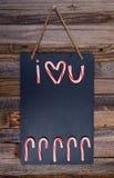 Texto do bastão de doces do feriado eu te amo Fotografia de Stock