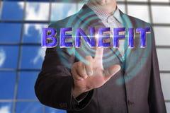 Texto do benefício com homem de negócios imagens de stock royalty free