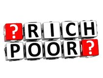 texto do bloco de 3D Rich Poor Button Click Here Fotos de Stock