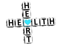 texto do botão do bloco das palavras cruzadas do coração da saúde 3D Imagem de Stock Royalty Free