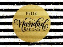 Texto do brilho do ouro de Feliz Navidad Spanish Merry Christmas Fotografia de Stock Royalty Free
